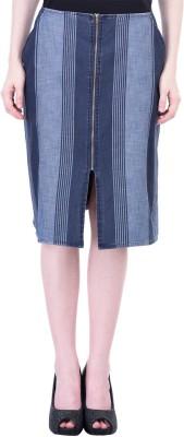 Oxolloxo Striped Women's A-line Blue Skirt at flipkart