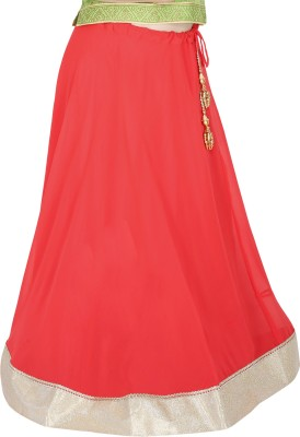 Sanchi Global Solid Women's Broomstick Orange Skirt