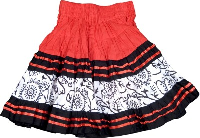 Retaaz Self Design Girl's Broomstick Red, Black, White Skirt