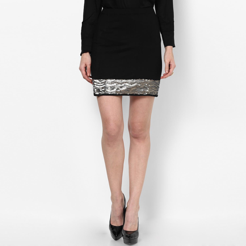 Taurus Solid Womens Straight Black Skirt