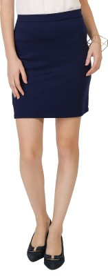Chimpaaanzee Solid Women's Pencil Dark Blue Skirt