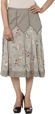 India Inc Floral Print Women's A-line Grey Skirt