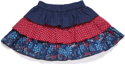 Crayon Flakes Printed Girl's Tiered Dark Blue, Red Skirt