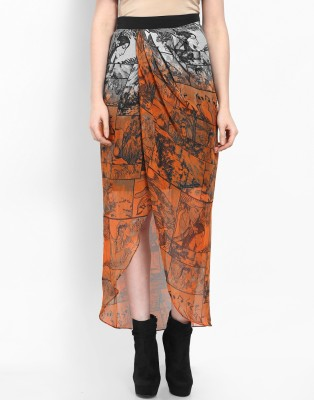 Athena Printed Women's Regular Black Skirt at flipkart