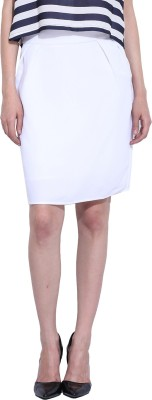 Leo Sansini Solid Women,s Straight White Skirt