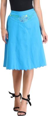 amirich Embroidered Women's A-line Light Blue Skirt