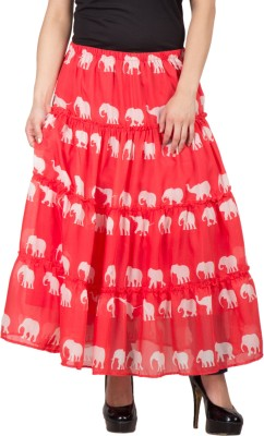 Famous by Payal Kapoor Printed Women's Gathered Red Skirt