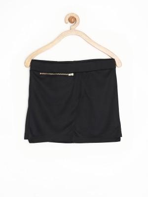 Yellow Kite Solid Girl's Regular Black Skirt