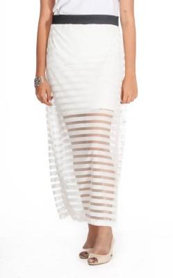 Young Trendz Striped Women's Layered White Skirt