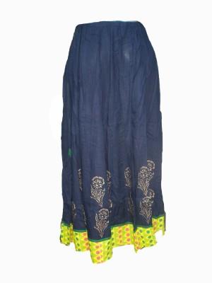 Vg store Self Design Women's Regular Blue Skirt