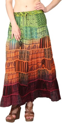 Shararat Printed Women's A-line Multicolor Skirt