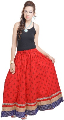 Prateek Exports Floral Print Women's Regular Red Skirt