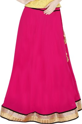 Sanchi Global Solid Women's Broomstick Pink Skirt