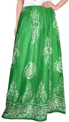 Bright & Shining Self Design Women's Regular Green Skirt