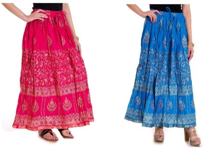 Ooltah Chashma Printed Women's Broomstick Blue, Pink Skirt