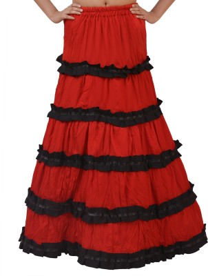 carrol Solid Women's Wrap Around Red Skirt
