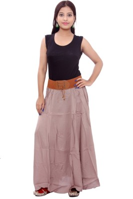 SML Solid Women's Regular Brown Skirt