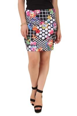 NOD Printed Women's A-line Black Skirt