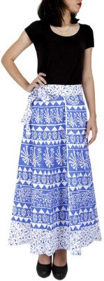 Ethnic Rajasthan Animal Print Women's Wrap Around Blue Skirt