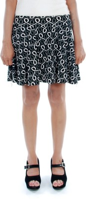Gwyn Lingerie Graphic Print Women's Pleated Black Skirt