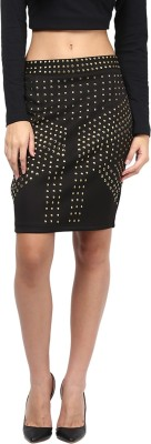 Martini Embellished Women's A-line Black Skirt