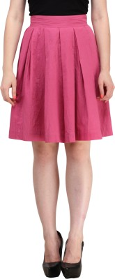 Ladybug Solid Women's A-line Pink Skirt