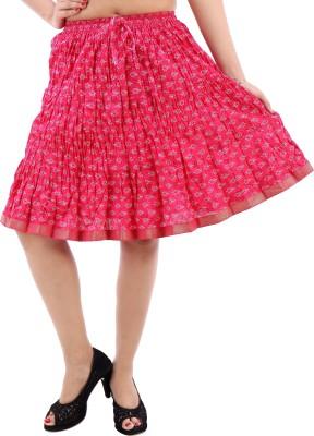 Desert Eshop Printed Women's A-line Pink Skirt