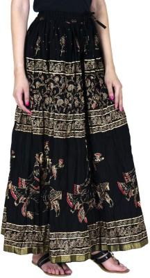 Ooltah Chashma Printed Women's Straight Black Skirt