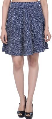 Panchvati Polka Print Women's A-line Dark Blue Skirt
