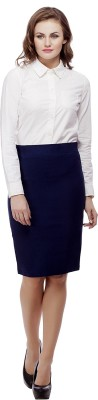 Purple Feather Solid Women's Pencil Dark Blue Skirt