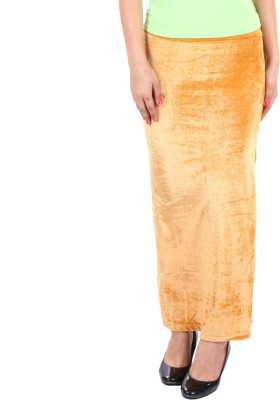 Gwyn Lingerie Solid Women's Straight Beige Skirt