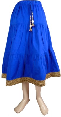Sweet Angel Self Design Girl,s Pleated Blue Skirt