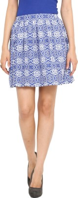 Label VR Printed Women's A-line Blue Skirt