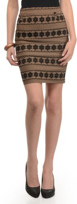 Mayra Embroidered Women's Pencil Brown, Black Skirt