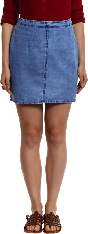 Bombay High Solid Women's Straight Light Blue Skirt