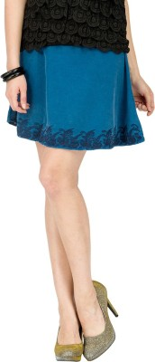Alibi By Inmark Solid Women's A-line Blue Skirt