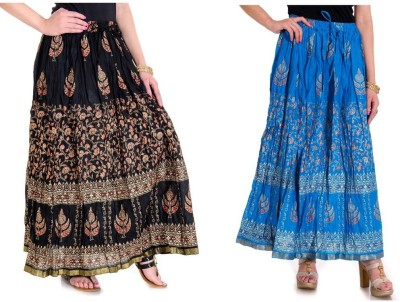 Ooltah Chashma Printed Women's Broomstick Black, Blue Skirt