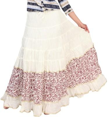 Carrel Printed Women's Broomstick White, Maroon Skirt