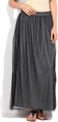 United Colors of Benetton Solid Women's Gathered Black Skirt