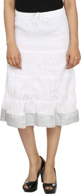 Friends by Style Solid Women's A-line White Skirt