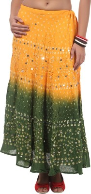 Ooltha Chashma Striped Women's Broomstick Green Skirt