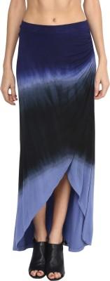 Grain Solid Women's Asymetric Blue Skirt