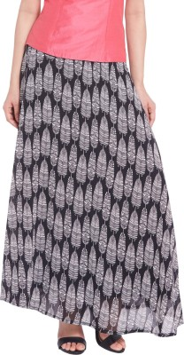 Globus Printed Women's A-line Black Skirt