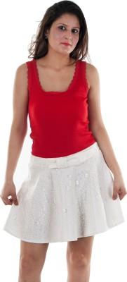 Gwyn Lingerie Self Design Women's Gathered White Skirt