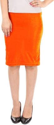 Gwyn Lingerie Solid Women's Straight Orange Skirt