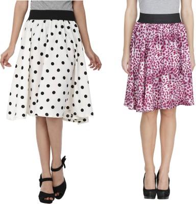 Shopingfever Printed Women's A-line White, Purple Skirt
