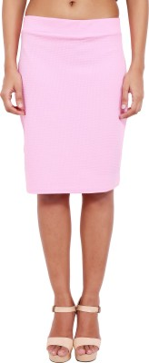 2 Sisters Solid Womens Straight Pink Skirt