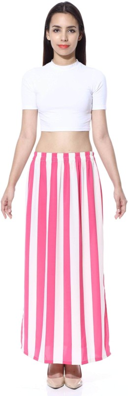 FabnFab Striped Women's Pencil Pink, White Skirt