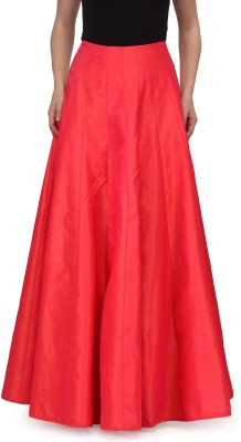 A Click Away Solid Women's A-line Red Skirt