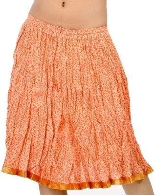 Indiangiftemporium Printed Women's Regular Orange Skirt